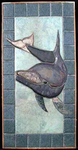 Bathroom shower and tub dolphin tile murals custom 3d for Dolphin tile mural